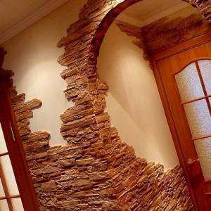 оформление стен искусственным камнем