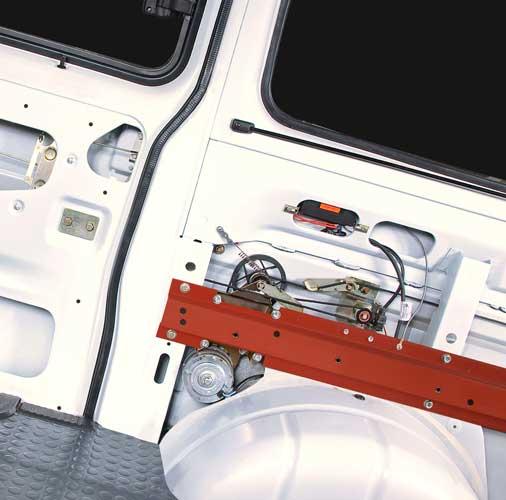 Обеспечение техники безопасности для перевозки пассажиров при  помощи электропривода боковой двери.