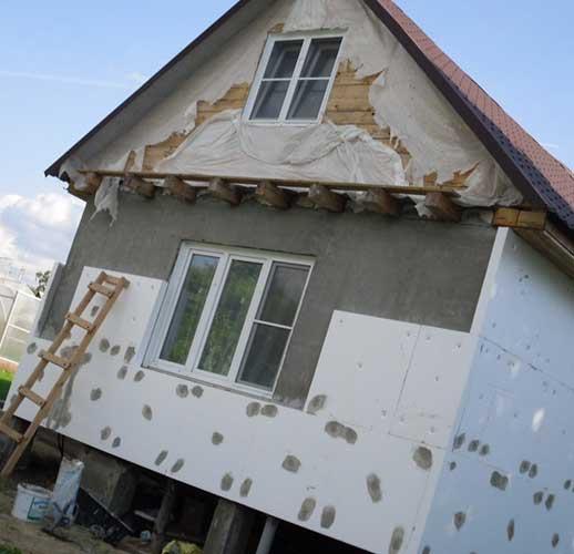 Утепление фасада дома пенопластом