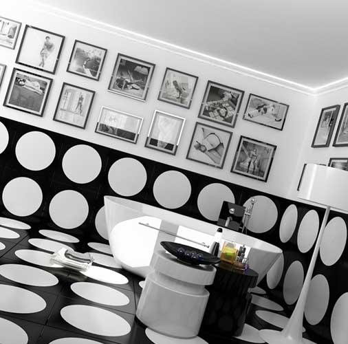 Дизайн ванной черно белом цвете